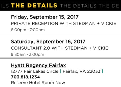 Stedman and Vickie Consultant 2.0 Event Dates